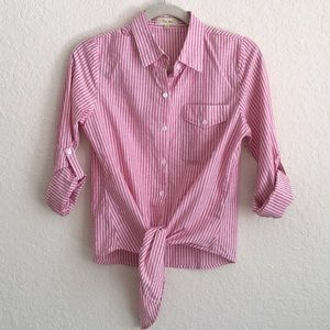 Anthropologie Love Notes Striped Tie Front Shirt.